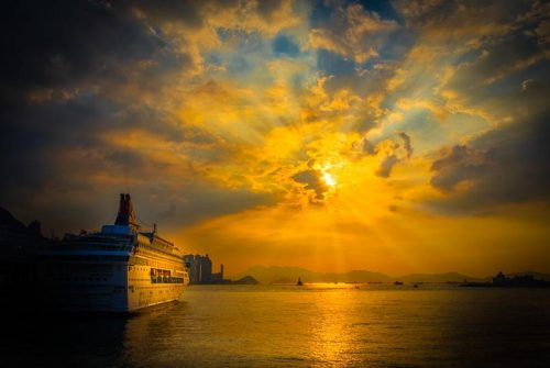 'Sunset At Hong Kong Harbor' by Anne Harvey
