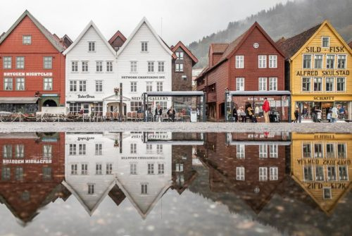'Bryggen Reflection' by Esther Andrews